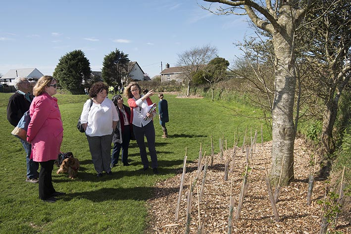 Treskerby Playing Fields, Redruth. Project Lead Melissa Ralph giving a tour