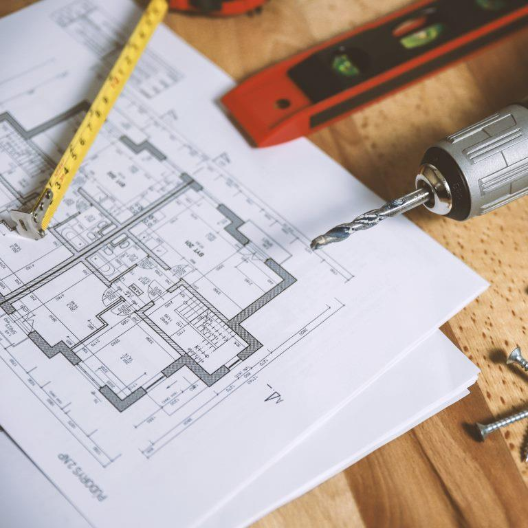 Blueprint for a building and tools