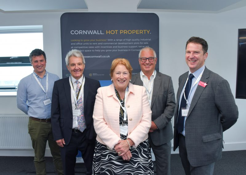 Photo: Pictured L-R at the opening of Chi Tevyans are Samuele Armondi (Everest Media Ltd), Cllr Philip Desmonde (Transport Portfolio holder and member for Pool and Tehidy), Cllr Linda Taylor (Leader of Cornwall Council), Mike King (Managing Director, Cornwall Development Company), Alan Treloar (Vickery Holman)